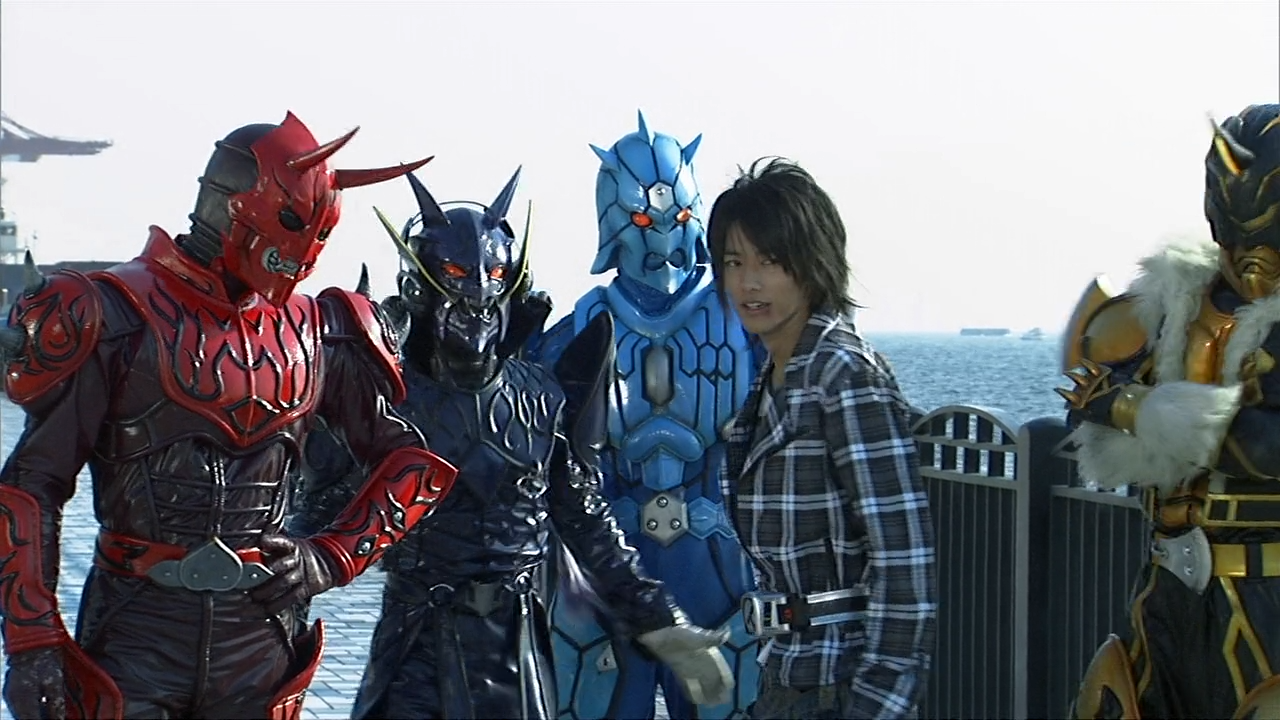 I really wanted all 4 Imagin in here along with Ryotaro, and this was the best shot I could find on short notice. Too bad Kin is mostly off-screen...